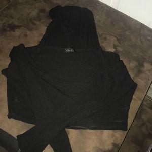 Black crop top w/ hoodie